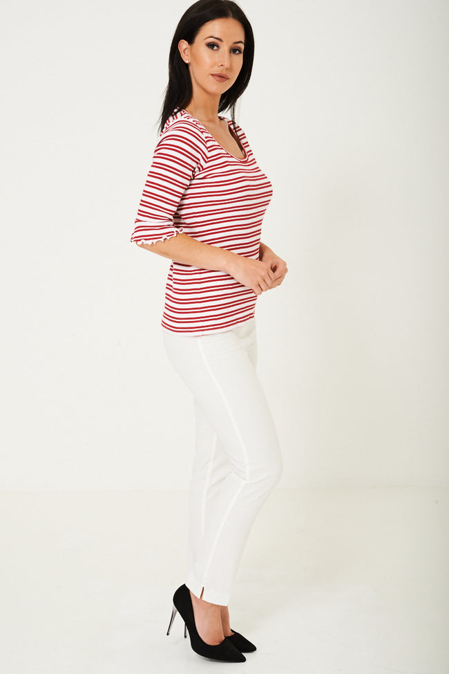 Striped Jersey Top Ex Brand-Fabulous Bargains Galore
