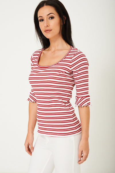 Striped Jersey Top Ex Brand