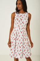 White Skater Dress with Pleat Detail-Fabulous Bargains Galore