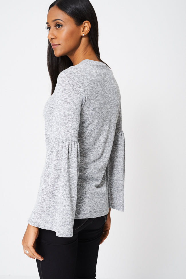 Grey Bell Sleeve Blouse-Fabulous Bargains Galore