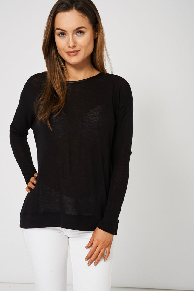Semi Sheer Top in Black Ex Brand-Fabulous Bargains Galore