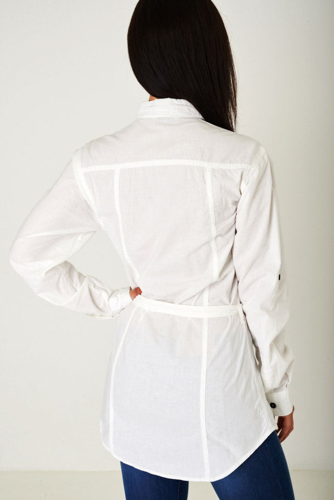 Longline Off-White Shirt-Fabulous Bargains Galore