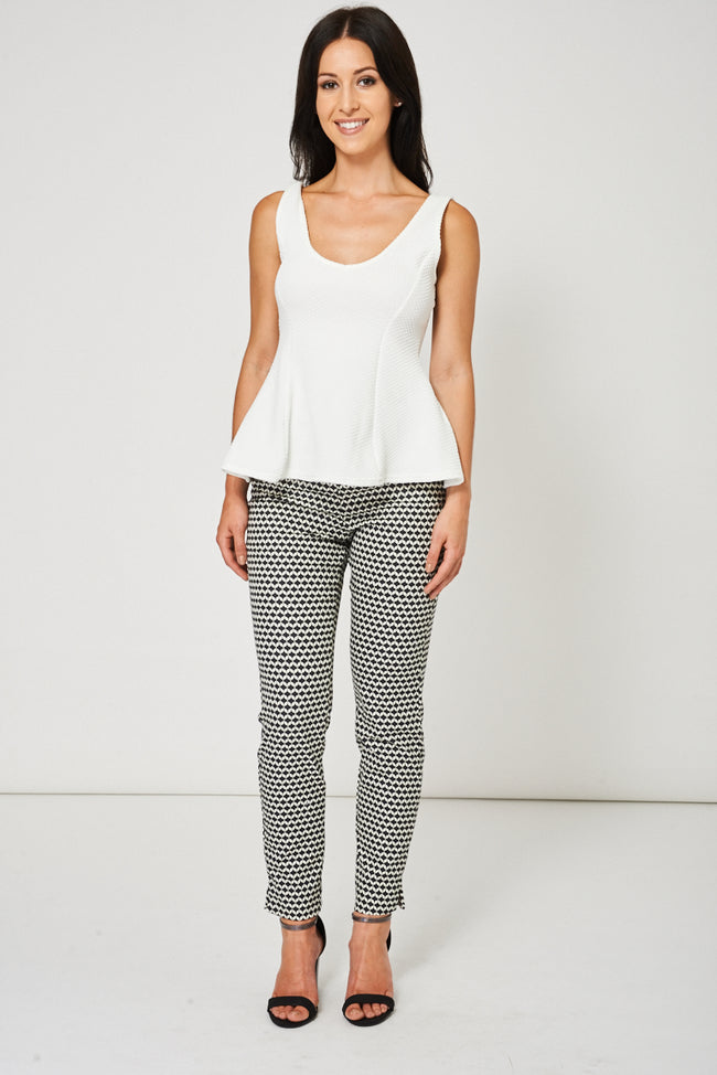Monochrome Cigarette Trousers Ex-Branded Available In Plus Sizes-Fabulous Bargains Galore