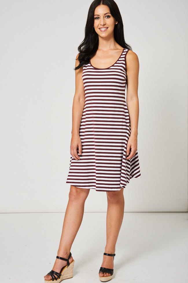 Striped Criss-Cross Back Dress Ex-Branded-Fabulous Bargains Galore
