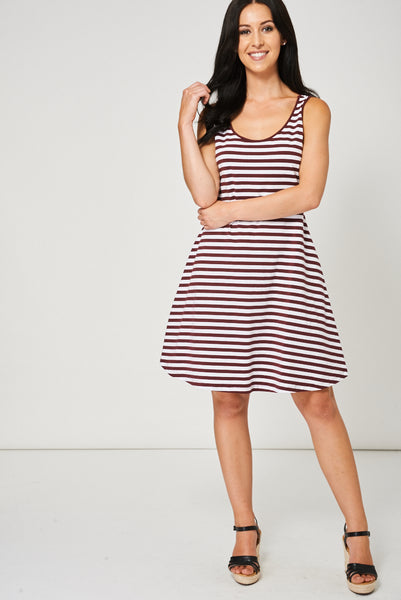 Striped Criss-Cross Back Dress Ex-Branded