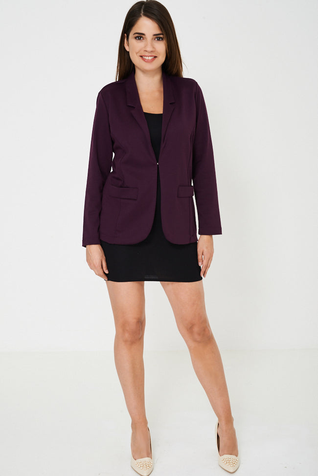 Longline Purple Tailored Blazer-Fabulous Bargains Galore