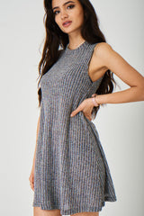 Grey Knitted Ribbed Dress Ex Brand