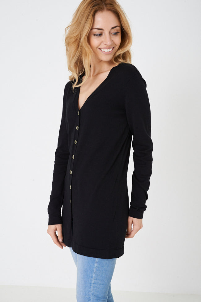 Button Down Cardigan in Black-Fabulous Bargains Galore