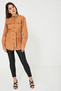 Tie Waist Shirt in Camel Ex Brand-Fabulous Bargains Galore