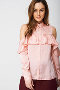 Cold Shoulder Satin Shirt Ex-Branded-Fabulous Bargains Galore
