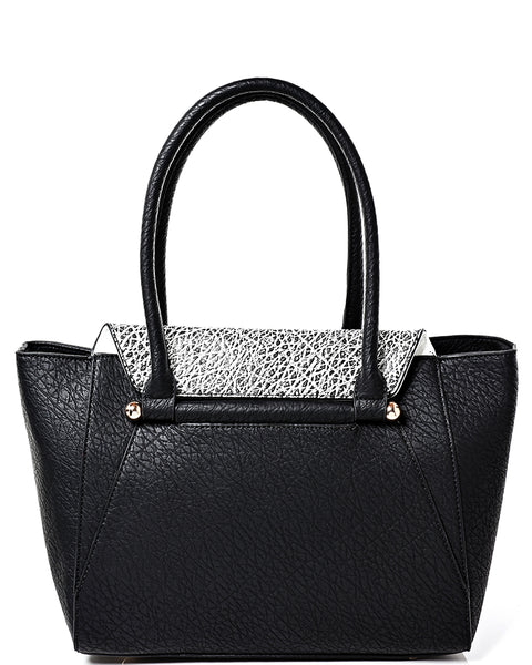 Black Faux Leather Zip Tote