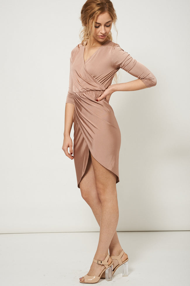 Wrap Over Slinky Dress Ex-Branded-Fabulous Bargains Galore