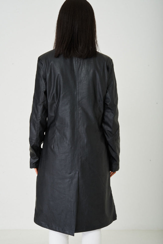 Black Long Faux Leather Jacket-Fabulous Bargains Galore