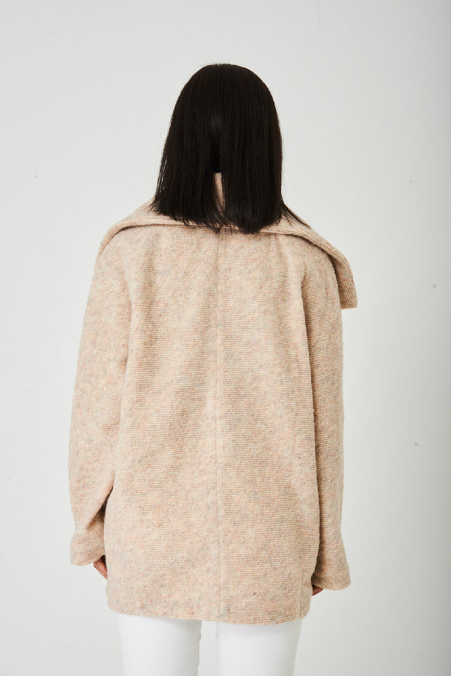 Beige High Neck Wool Jacket Ex Brand-Fabulous Bargains Galore
