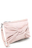 LAMODA Peach Faux Suede Bow Clutch Bag