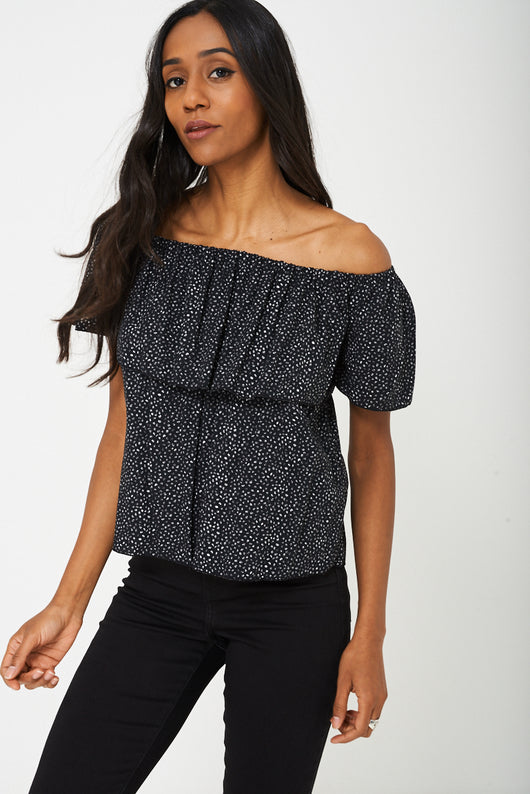 BIK BOK Off Shoulder Black Top-Fabulous Bargains Galore