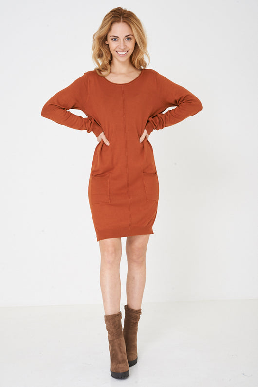 Knitted Dress in Brown Ex Brand-Fabulous Bargains Galore