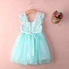 Mint Green Tulle Crochet Lace Girls Dress