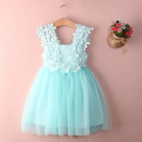 Sleeveless Tulle Crochet Lace Mint Green Dress for Girls