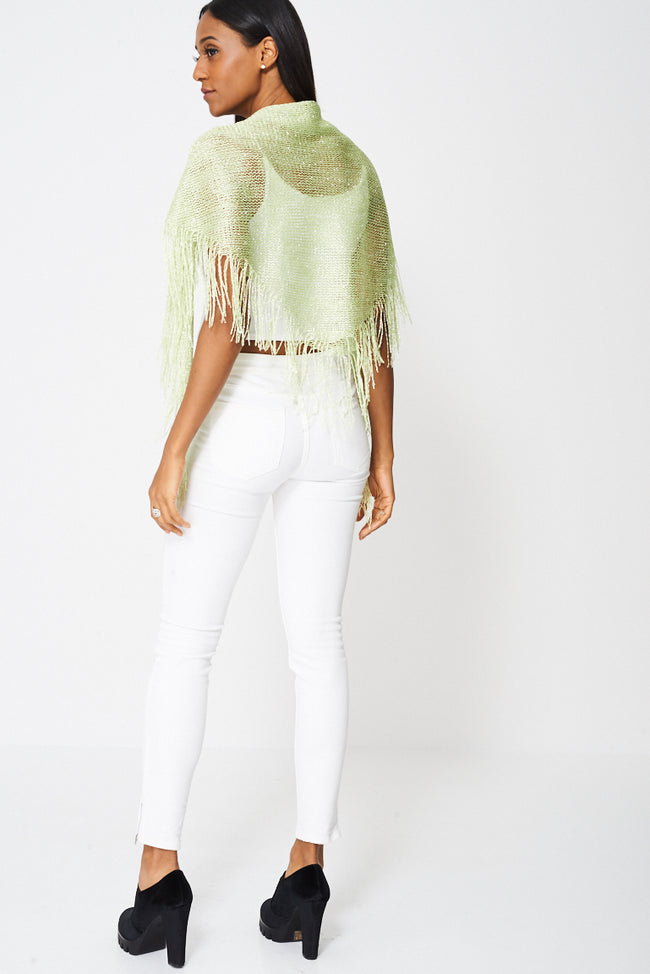 Fringe Glittery Pullover Scarf-Fabulous Bargains Galore