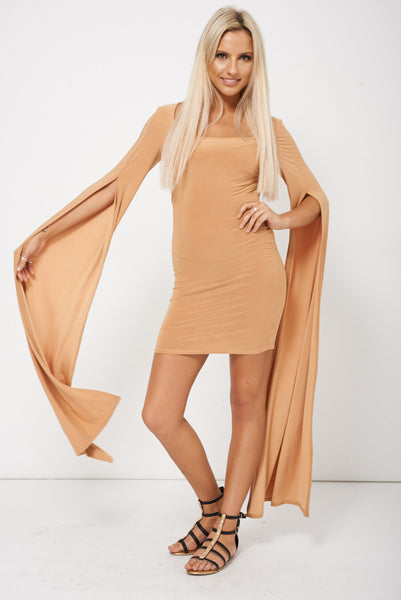Caramel Brown Dress With Draped Sleeves