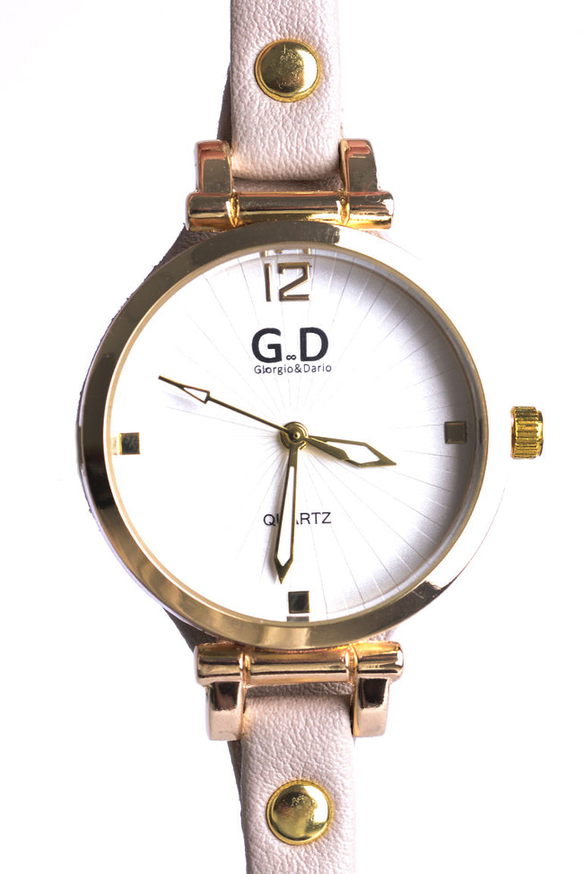 Thin Strap Watch In Beige-Fabulous Bargains Galore