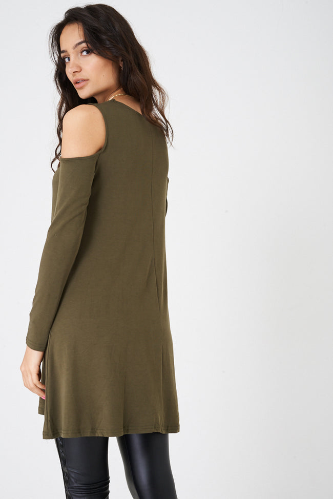 Cold Shoulder Swing Top in Khaki Ex Brand-Fabulous Bargains Galore