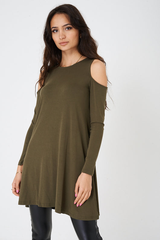 Cold Shoulder Swing Top in Khaki Ex Brand - Fabulous Bargains Galore