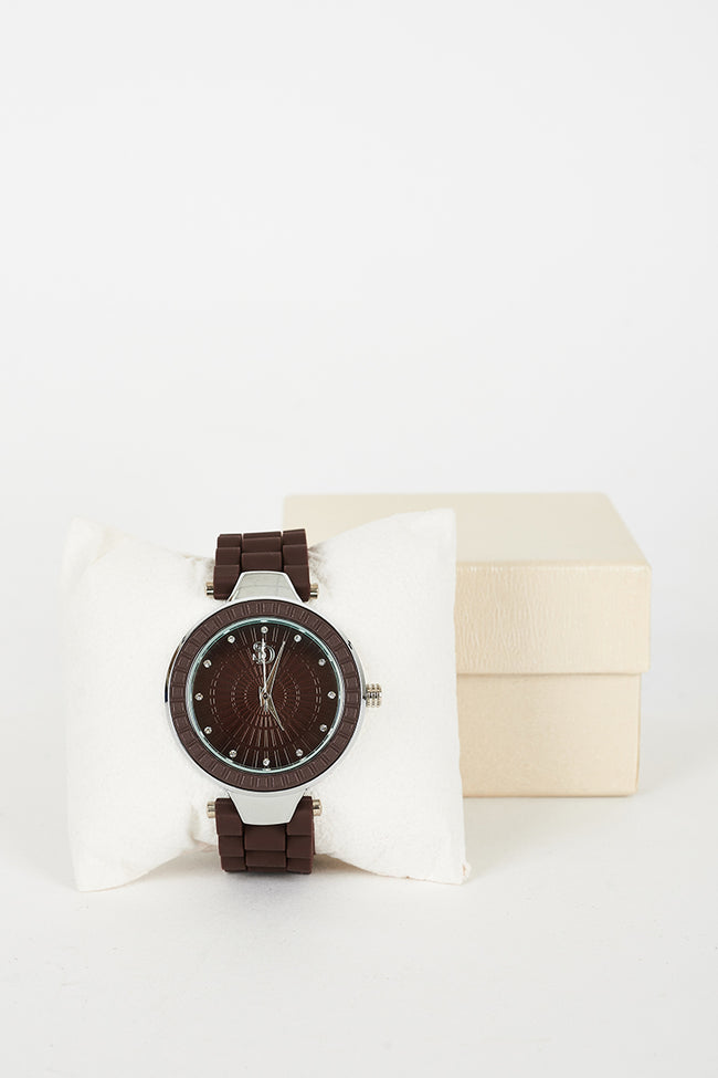 Brown Watch With Silicone Strap-Fabulous Bargains Galore