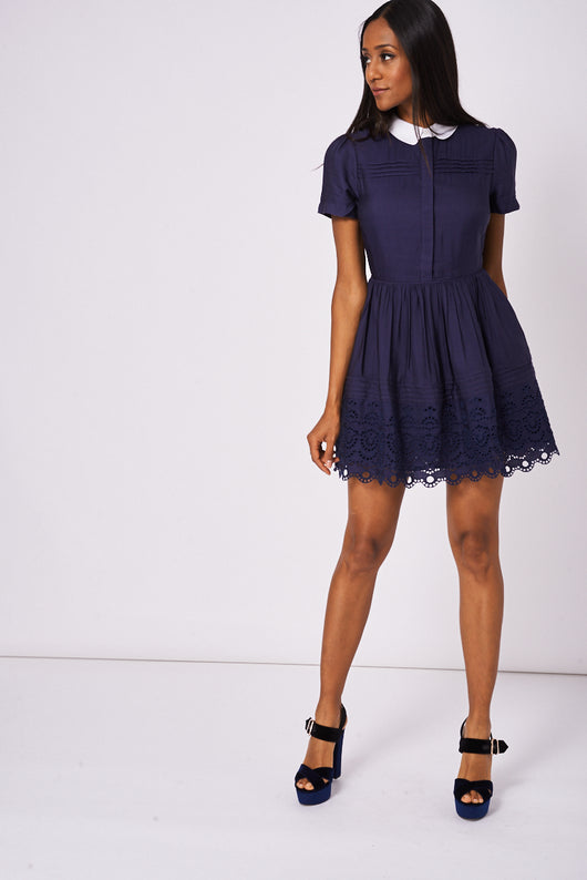 Navy Skater Dress With White Collar Ex-Branded-Fabulous Bargains Galore