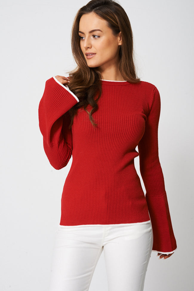 Bell Sleeve Jersey Top Ex-Branded-Fabulous Bargains Galore
