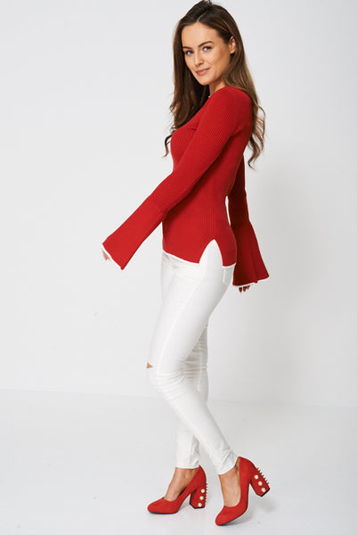 Bell Sleeve Jersey Top Ex-Branded