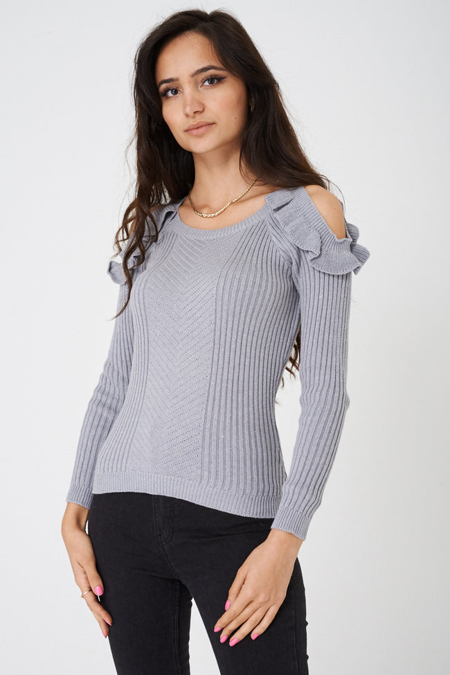 Grey Frill Cold Shoulder Knit Top-Fabulous Bargains Galore