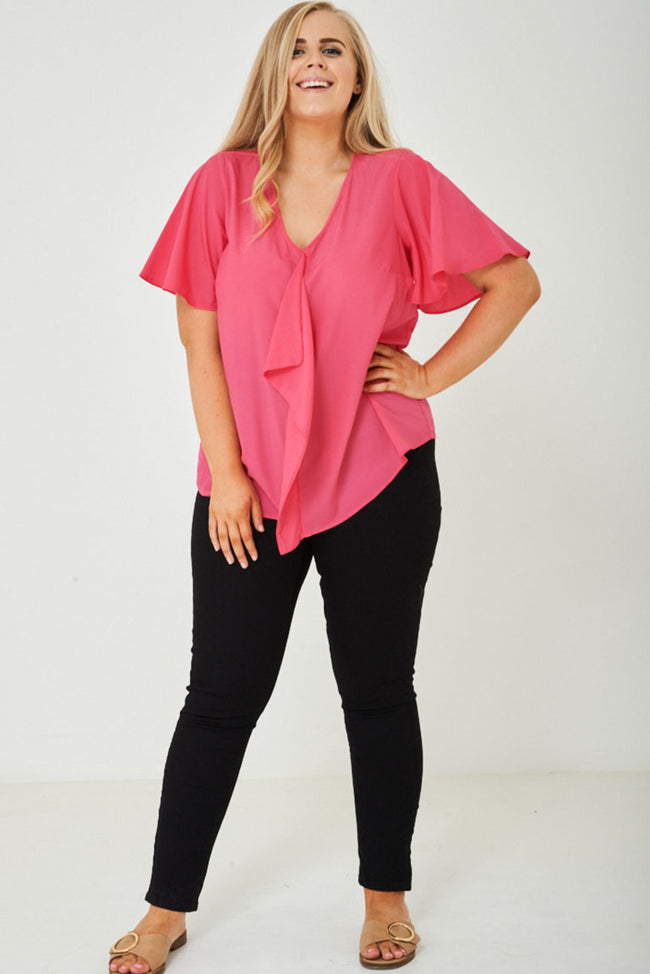 PLUS SIZE Ruffle Front Top in Pink-Fabulous Bargains Galore