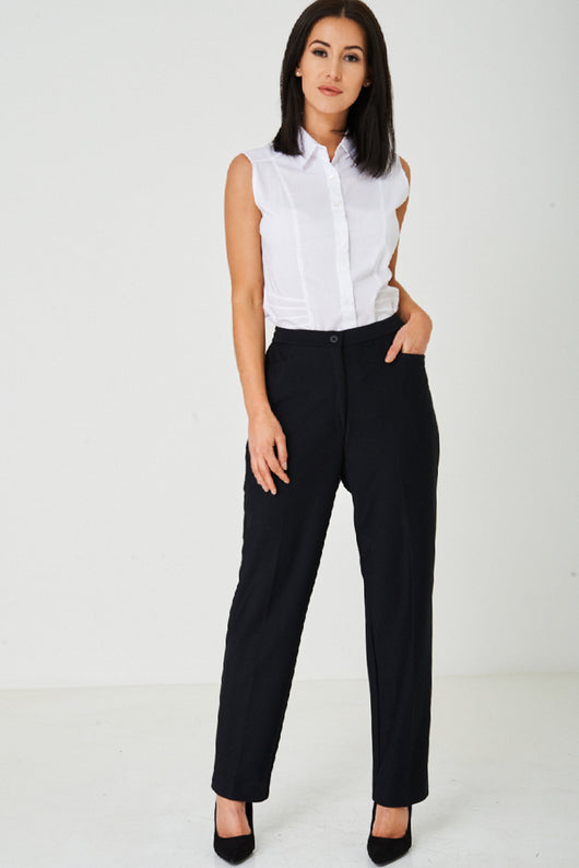 Tailored Black Straight Leg Trousers