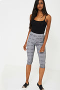 Dog Tooth Check Side Stripe Cropped Legging-Fabulous Bargains Galore