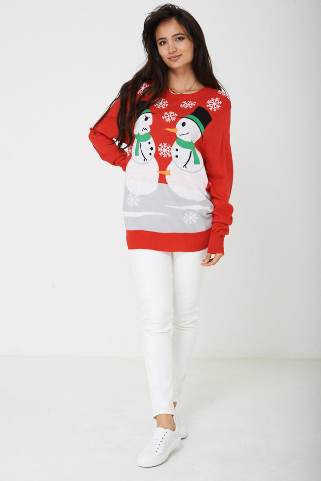 Unisex Ugly Christmas Snowman Sweater-Fabulous Bargains Galore