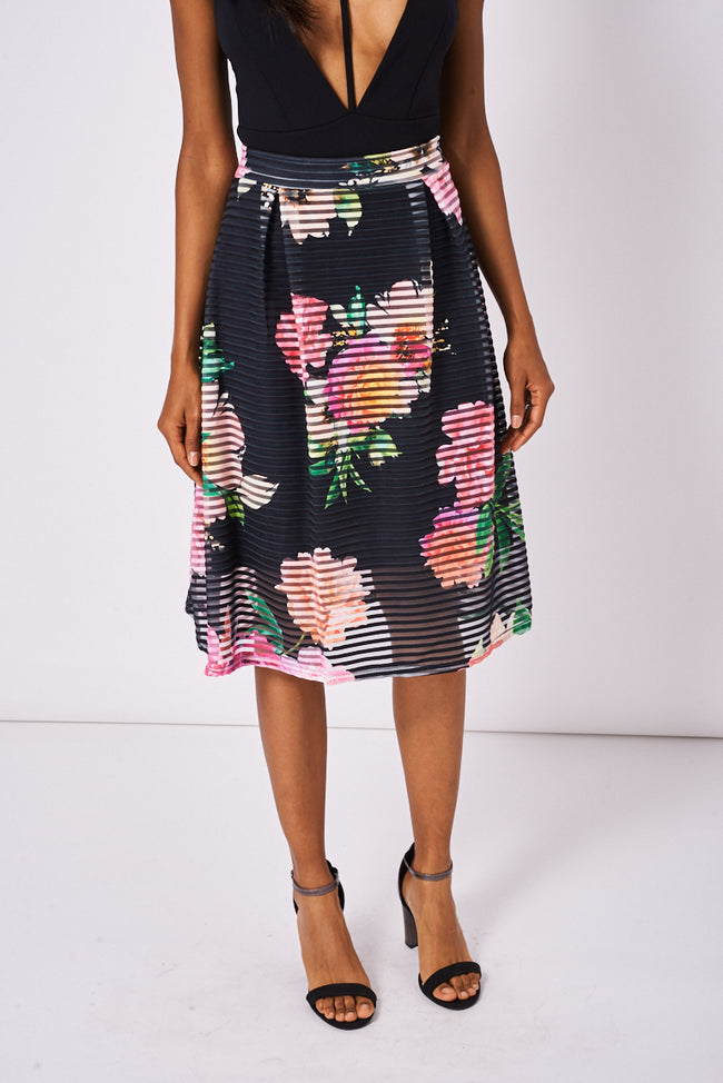 Floral Pattern Pleated Skirt-Fabulous Bargains Galore