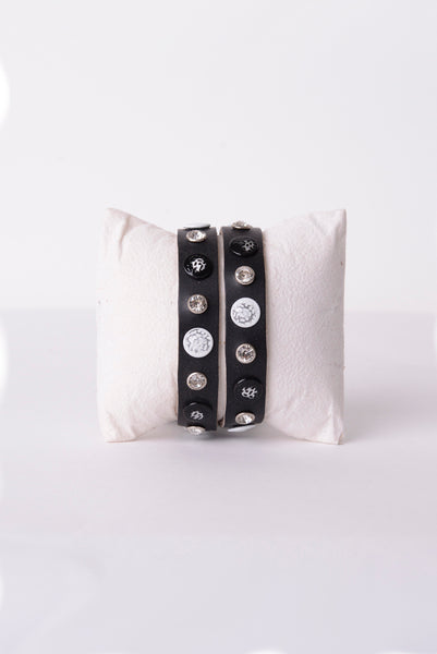 Leather Studded Bracelet in Black