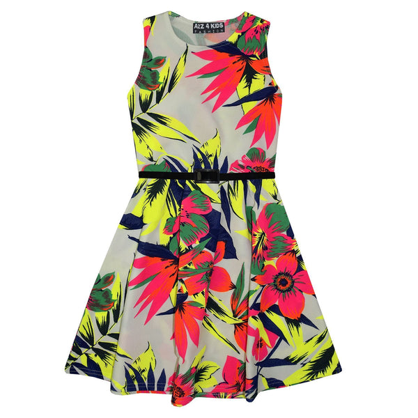 Neon Tropical Print Belted Girls Skater Dress