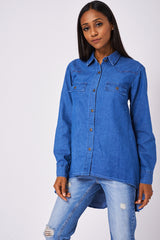 Blue Dipped Hem Denim Shirt Ex-Branded