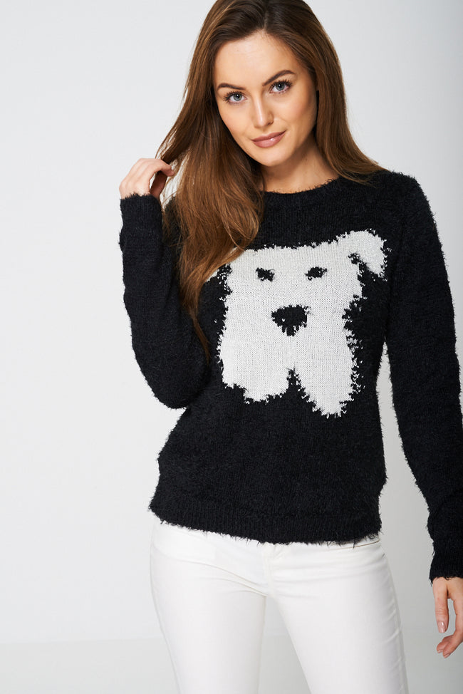 Dog Emoji Fluffy Jumper-Fabulous Bargains Galore