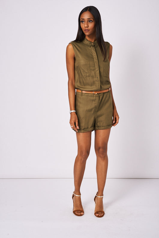 Khaki Playsuit Ex-Branded Available In Plus Sizes-Fabulous Bargains Galore