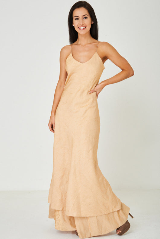 Gold Tone Fishtail Maxi Dress-Fabulous Bargains Galore