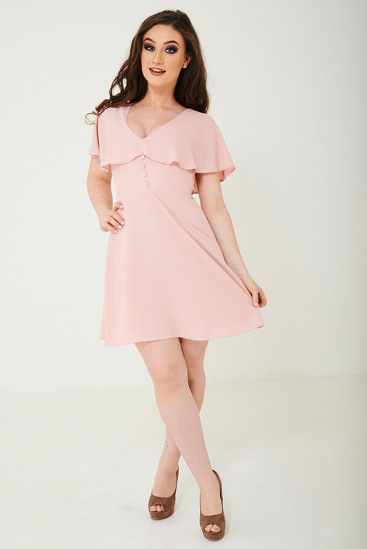 Pink Skater Dress With Ruffle Layer Ex Brand - Fabulous Bargains Galore