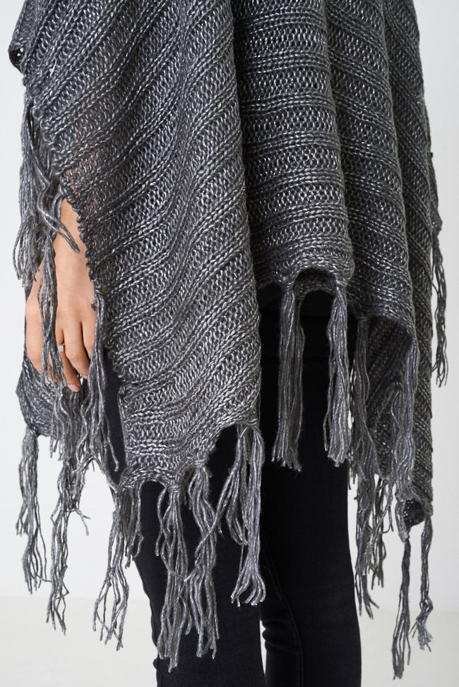 Grey Poncho with Metallic Insert-Fabulous Bargains Galore