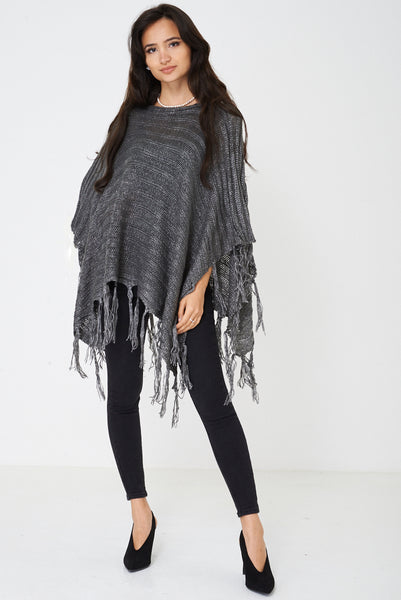 Grey Poncho with Metallic Insert