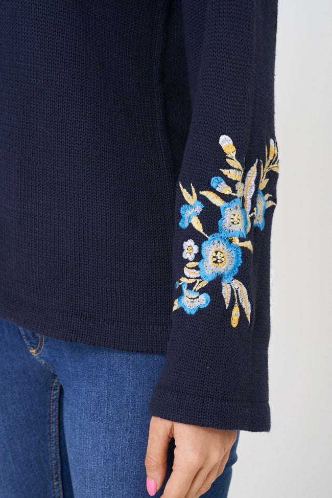 Navy Jumper with Embroidery Detail-Fabulous Bargains Galore