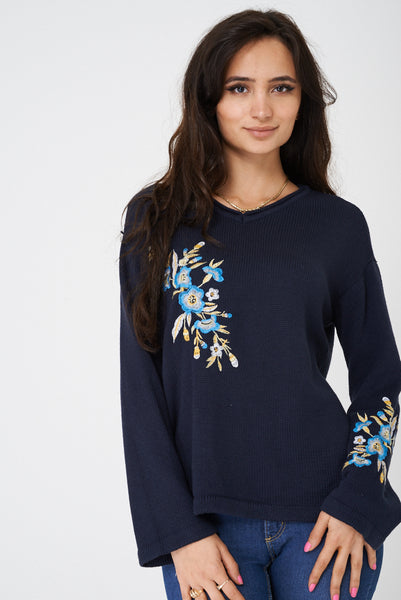 Navy Jumper with Embroidery Detail