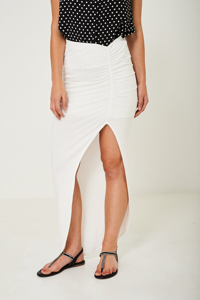 High Slit Maxi Skirt In Cream-Fabulous Bargains Galore